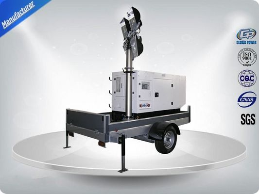 Chiny Single Phase Generator Mobile Light Tower Trailer With Manual Operated Mast dystrybutor